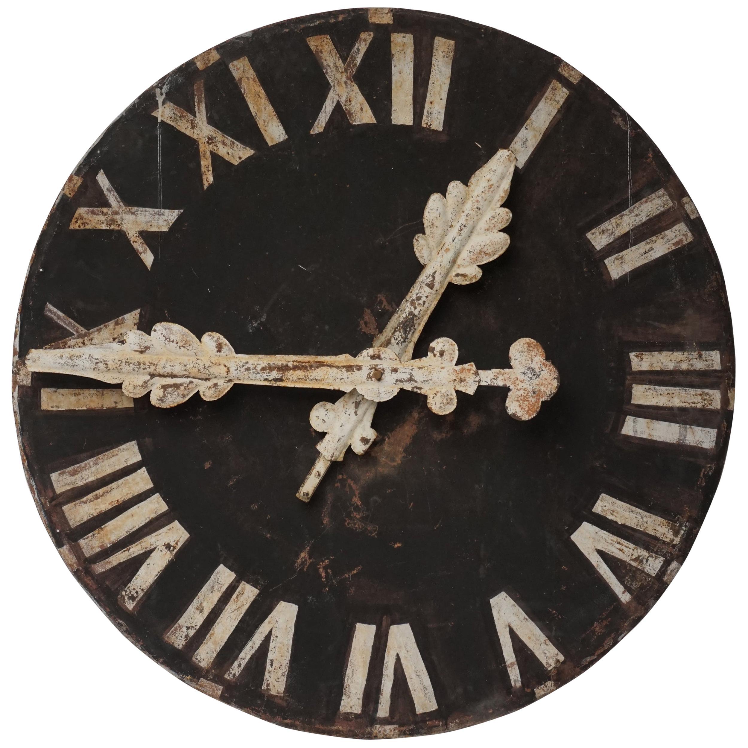 19th Century Large Austrian Metal Industrial Roman Numerals Church Clock Face