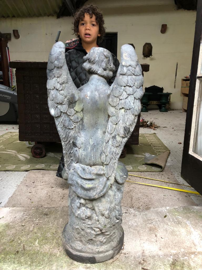 English 19th Century Large Bronze Angel For Sale