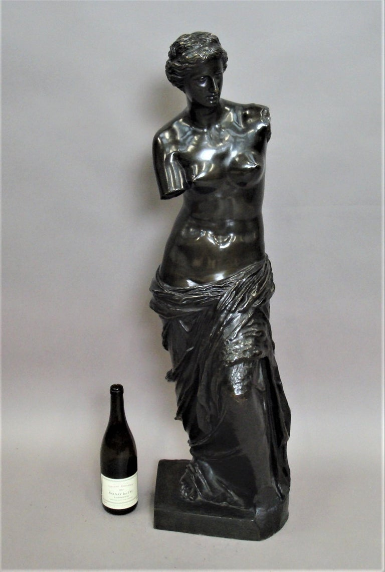 Impressive 19th century bronze grand tour sculpture of Venus de Milo, of very large scale, this well cast, classical figure with a good rich patina emphasizing her shape and curves.  Venus de Milo, is an ancient Greek statue and one of the most