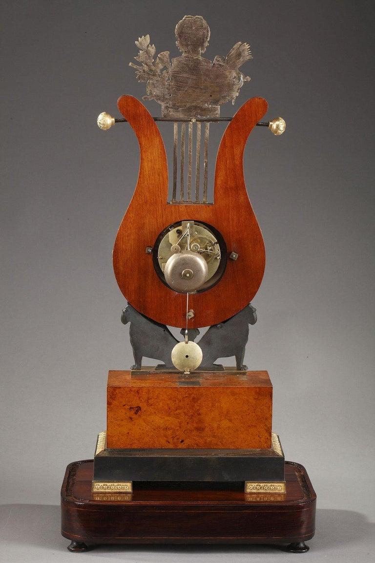 19th Century Large Burr Elm and Ormolu Lyre Clock 5