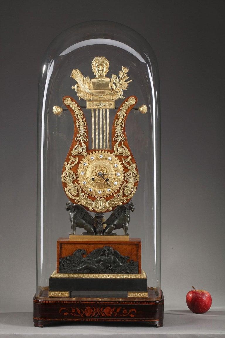 19th Century Large Burr Elm and Ormolu Lyre Clock 8