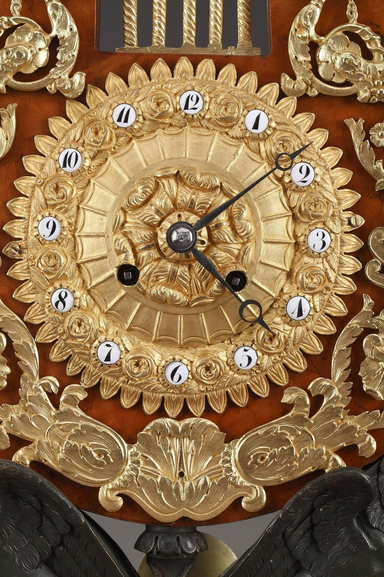 19th Century Large Burr Elm and Ormolu Lyre Clock 2