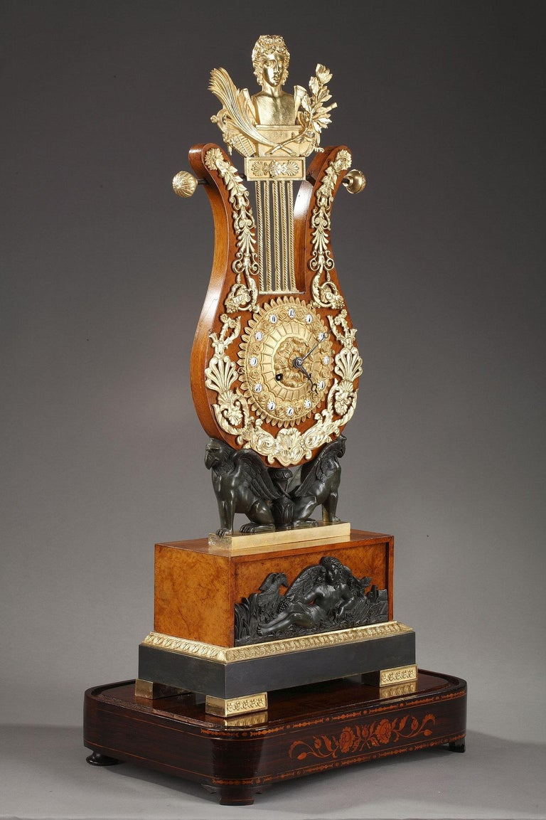 19th Century Large Burr Elm and Ormolu Lyre Clock 3