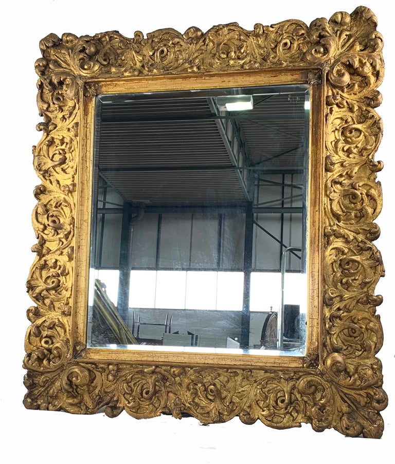 An Impressive Carved Gilt wood mirror of large proportions. Probably Italian late 19th century. Of rectangular form ornately carved with scrolling foliage and leafage.