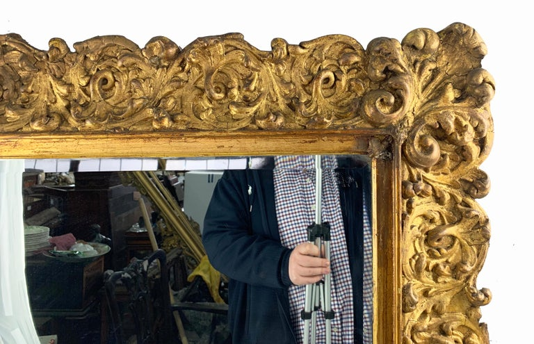 Italian 19th Century Large Carved Gilt Wood Mirror  For Sale