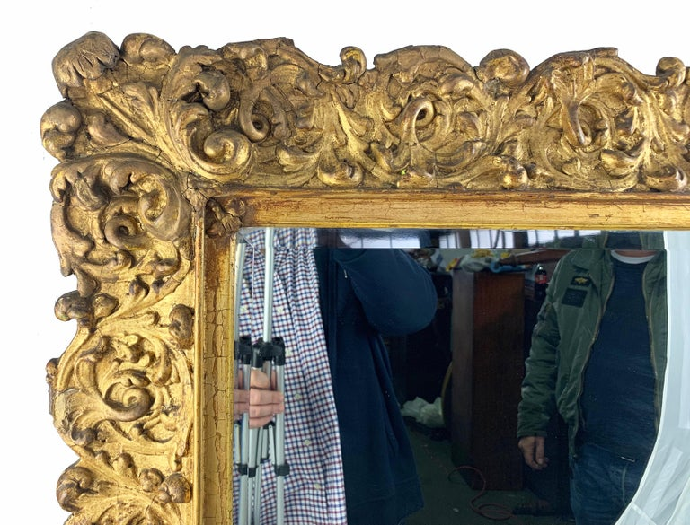 Hand-Crafted 19th Century Large Carved Gilt Wood Mirror  For Sale