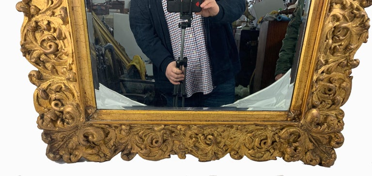19th Century Large Carved Gilt Wood Mirror  In Good Condition For Sale In London, GB