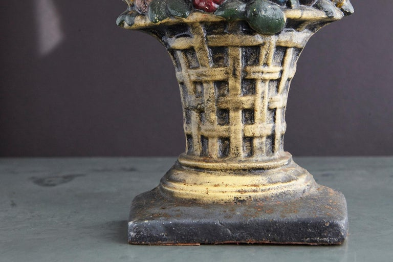 Country 19th Century Large Cast Iron Hand Painted Polychrome Flower Basket Doorstop For Sale