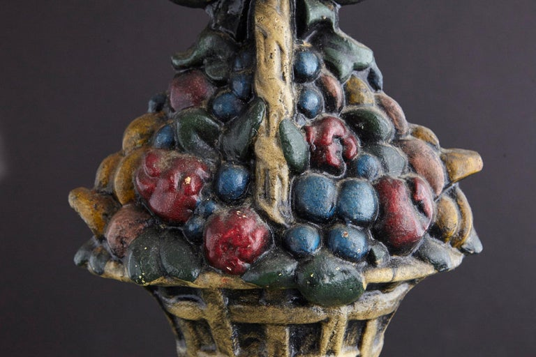 American 19th Century Large Cast Iron Hand Painted Polychrome Flower Basket Doorstop For Sale