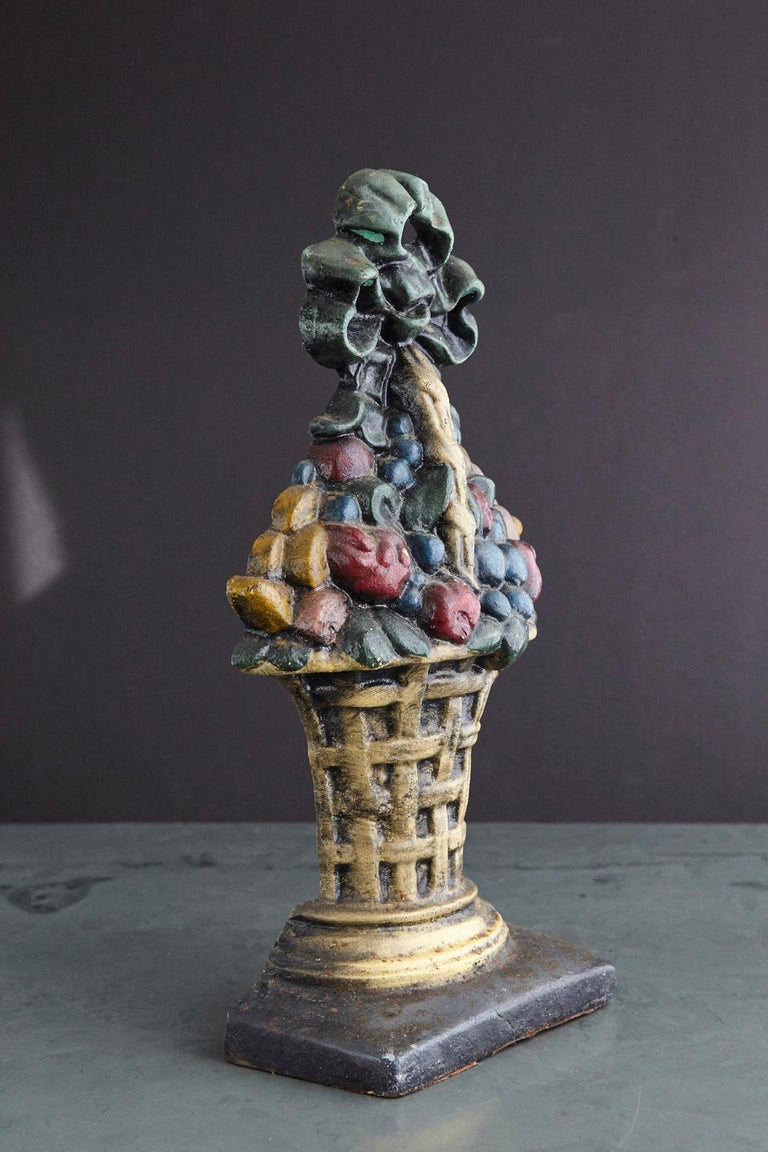 19th Century Large Cast Iron Hand Painted Polychrome Flower Basket Doorstop For Sale 1