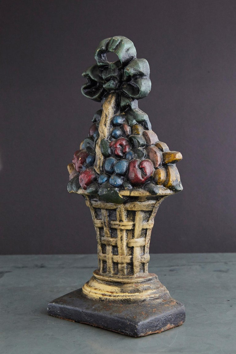 19th Century Large Cast Iron Hand Painted Polychrome Flower Basket Doorstop For Sale 4