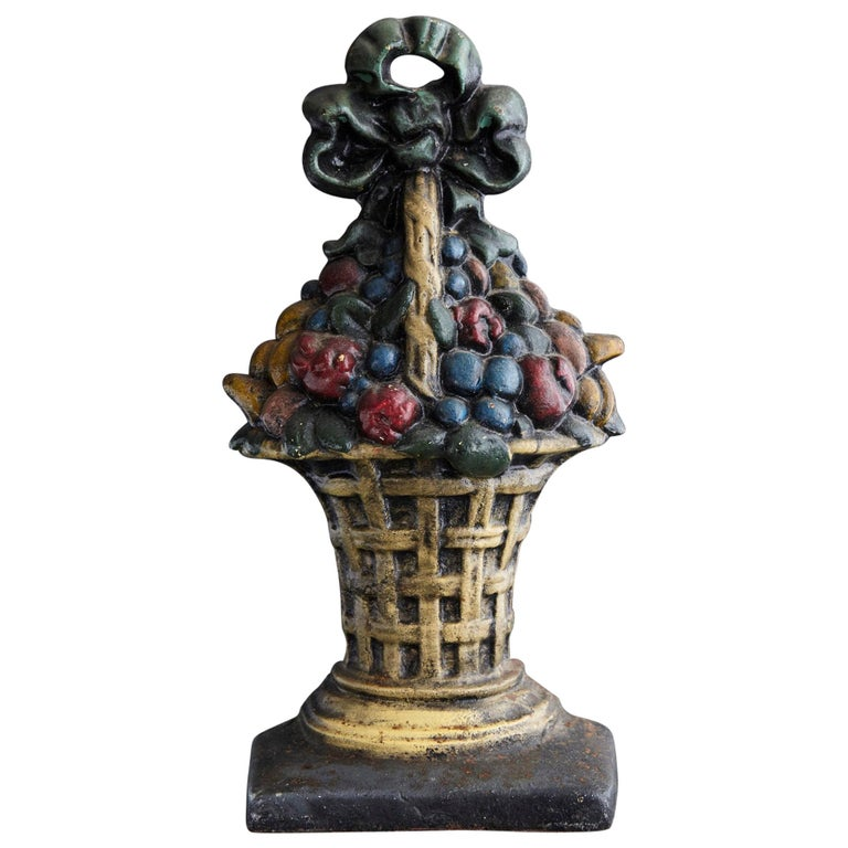 19th Century Large Cast Iron Hand Painted Polychrome Flower Basket Doorstop For Sale