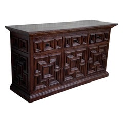 19th Century Large Catalan Spanish Baroque Carved Oak Tuscan Credenza or Buffet