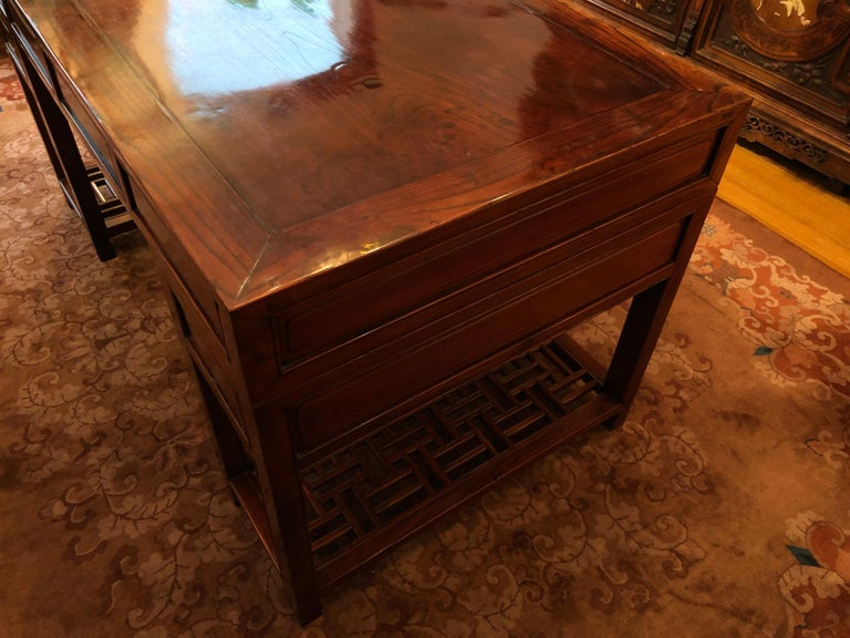 19th Century Large Chinese Elm Wood Desk For Sale 1