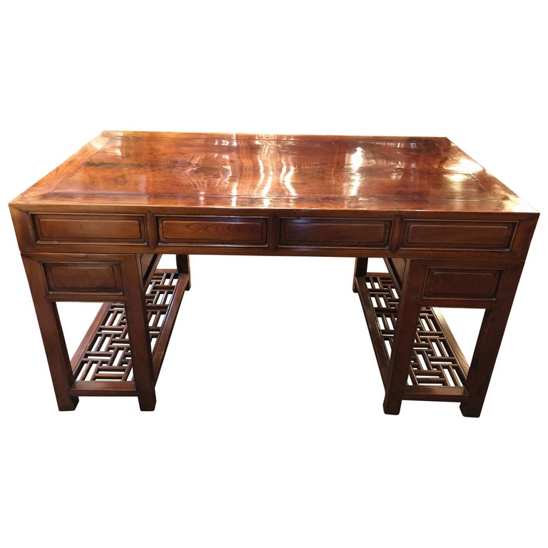 19th Century Large Chinese Elm Wood Desk For Sale