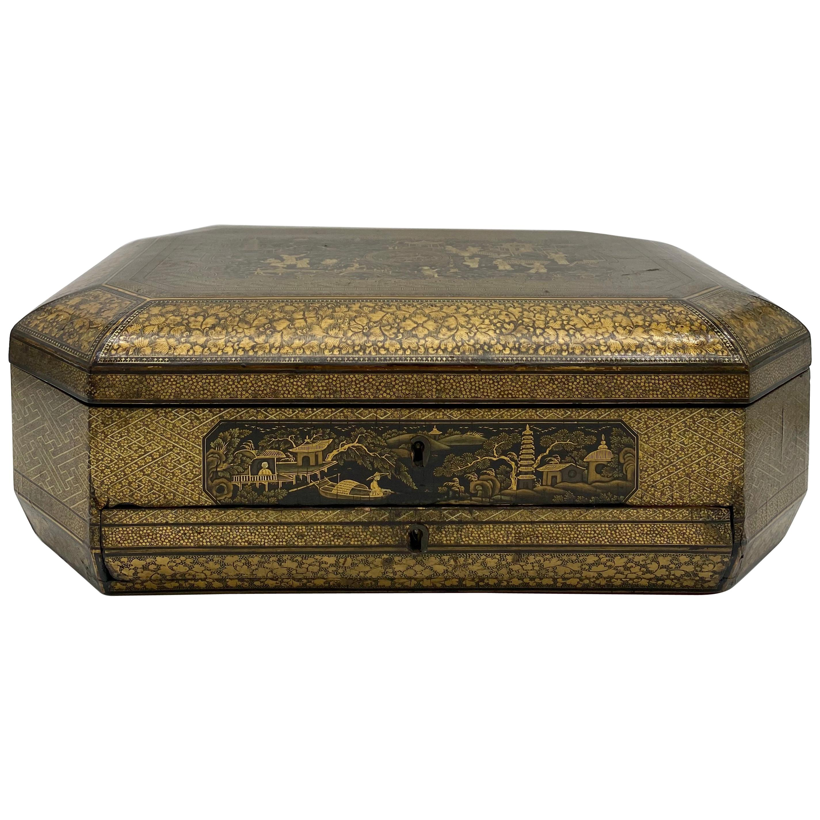 19th Century Large Chinese Lacquer Tea Caddy