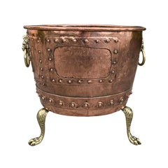 19th Century Large Copper and Brass Jardinière