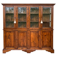 19th Century Large Cupboard or Bookcase with Glass Vitrine, Pine, Spain Restored