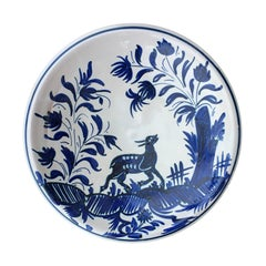 19th Century Large Delft Blue and White Charger with Deer, Unmarked