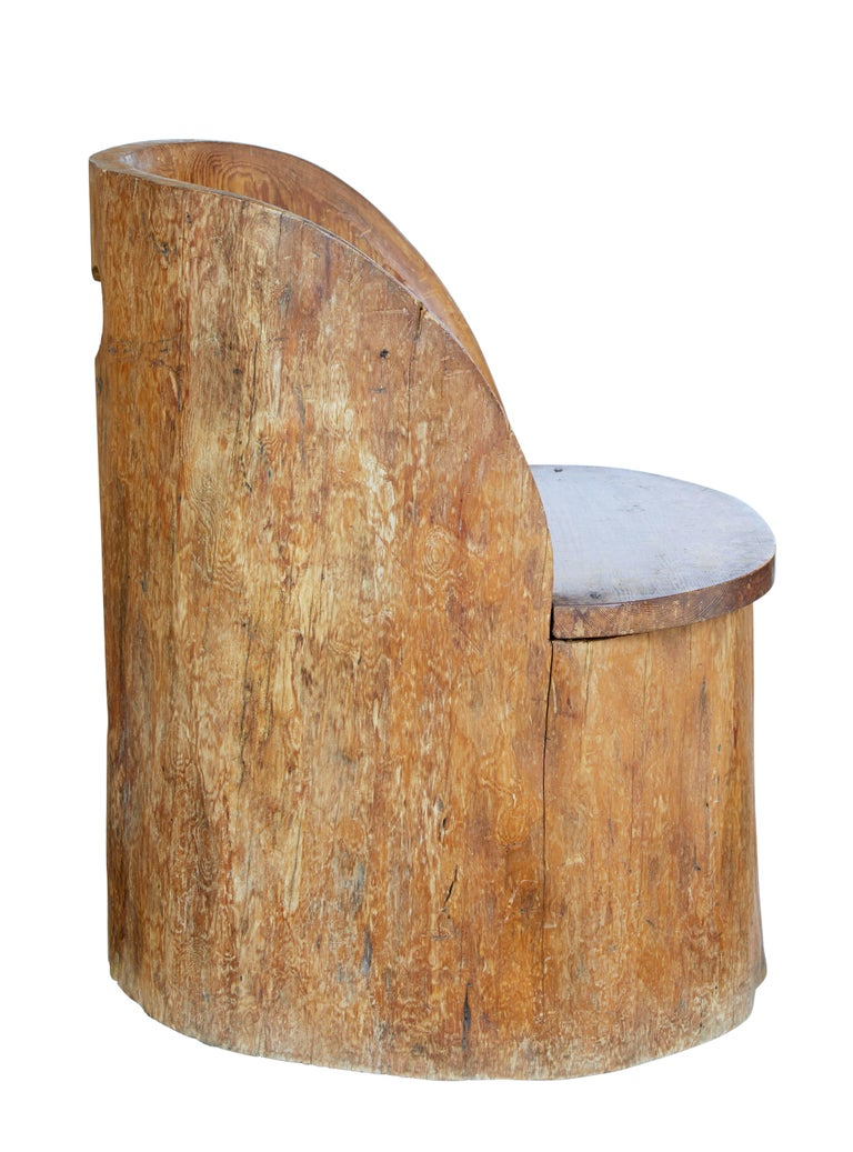 19th Century Large Dugout Rustic Pine Chair For Sale 2