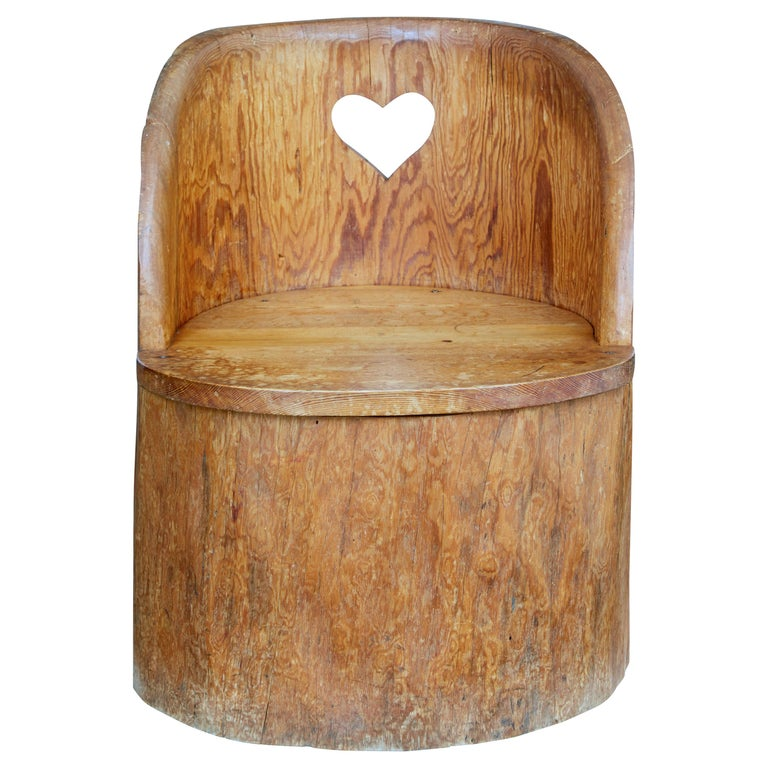 19th Century Large Dugout Rustic Pine Chair For Sale