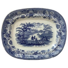 19th-Century Large English Blue & White Ironstone Platter Eton College