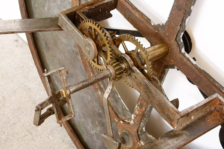 19th Century Large English Iron Clock Face With Gears For