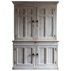 19th Century Large English White Limewash Housekeepers Cupboard
