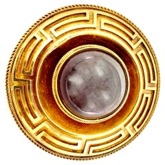 19th Century Large Etruscan Revival 14 Karat Gold Cabochon Garnet Disc Brooch
