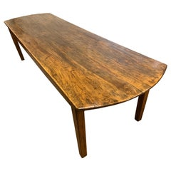 19th Century Large Farmhouse Table with Oval Ends
