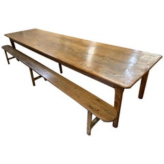 19th Century Large Farmhouse Table with Two Benches