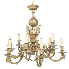 19th Century Large French Bronze Chandelier Decorated with Ram's Heads
