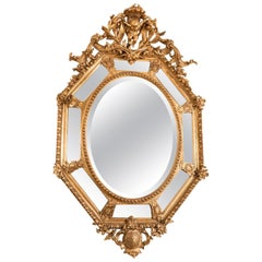 19th Century Large French Giltwood Octagonal Mirror from Napoleon III Period