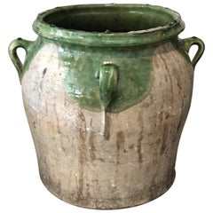19th Century Large French Glazed White & Green Terracotta Pot/ Urn with Handles