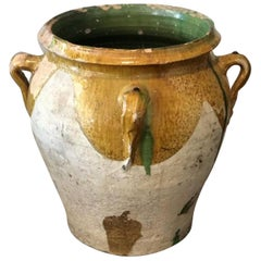 19th Century Large French Glazed Yellow & Green Terracotta Pot/ Urn with Handles