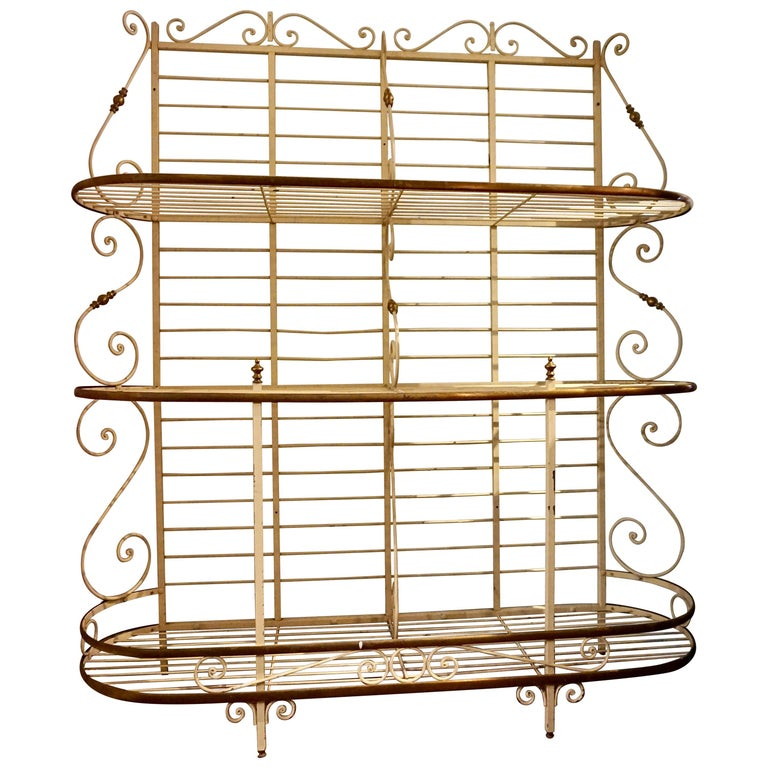 19th Century Large French Metal and Brass Baker's Rack For Sale