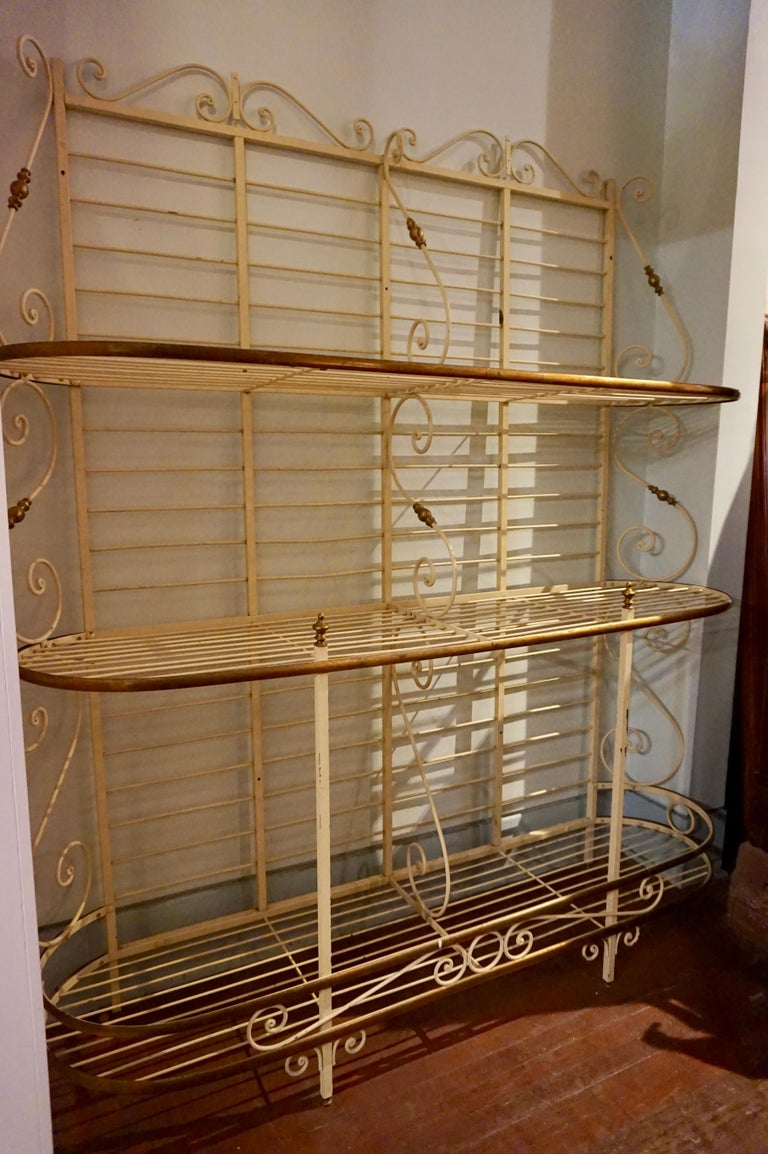 19th Century Large French Metal and Brass Baker's Rack For Sale 12