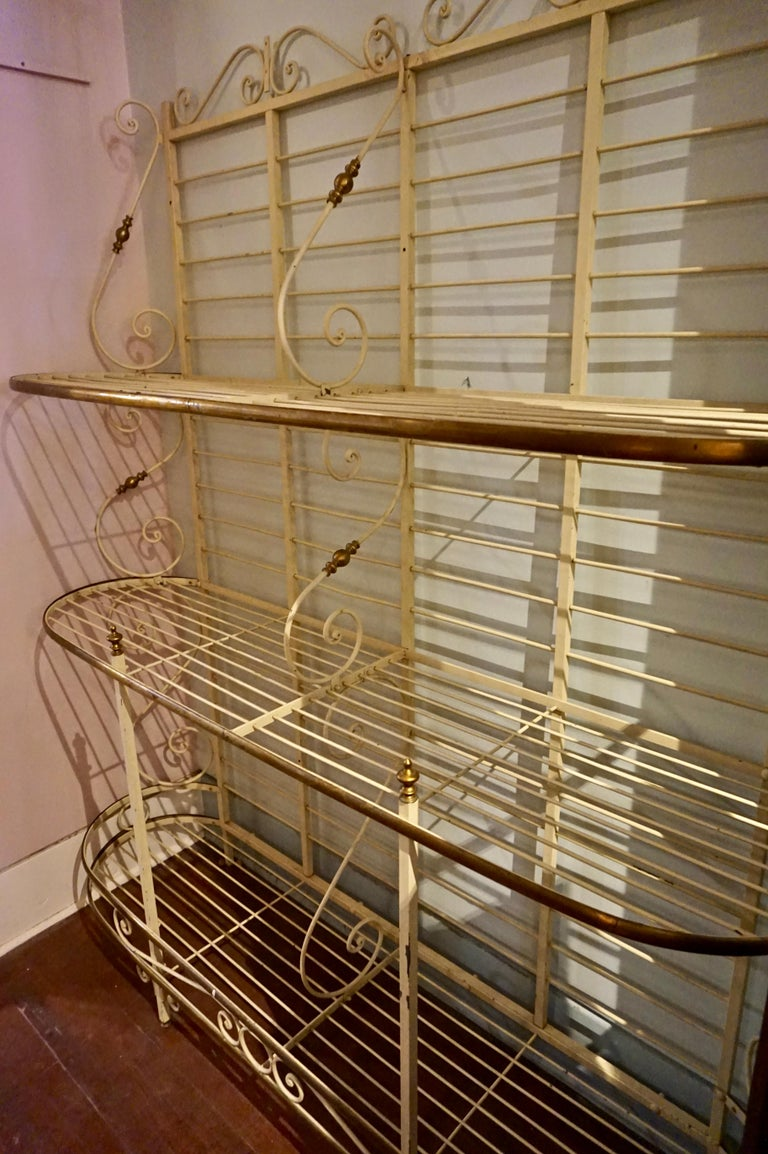 Metalwork 19th Century Large French Metal and Brass Baker's Rack For Sale
