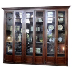 19th Century Large French Oak Directoire Library Cabinet