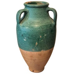 19th Century Large French Terracotta Urn or Pot with Teal Glazing