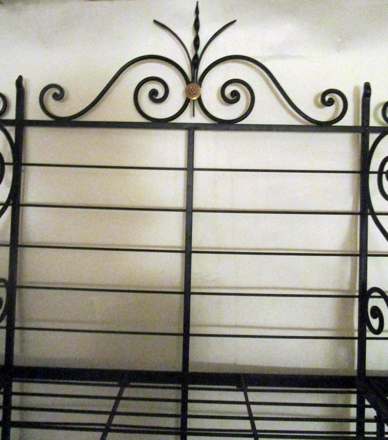 19th Century Large French Wrought Iron and Brass Bakers Rack For Sale 5