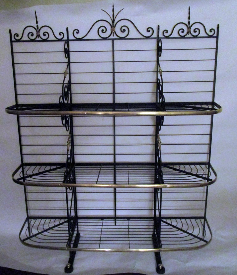 19th Century Large French Wrought Iron and Brass Bakers Rack For Sale 6