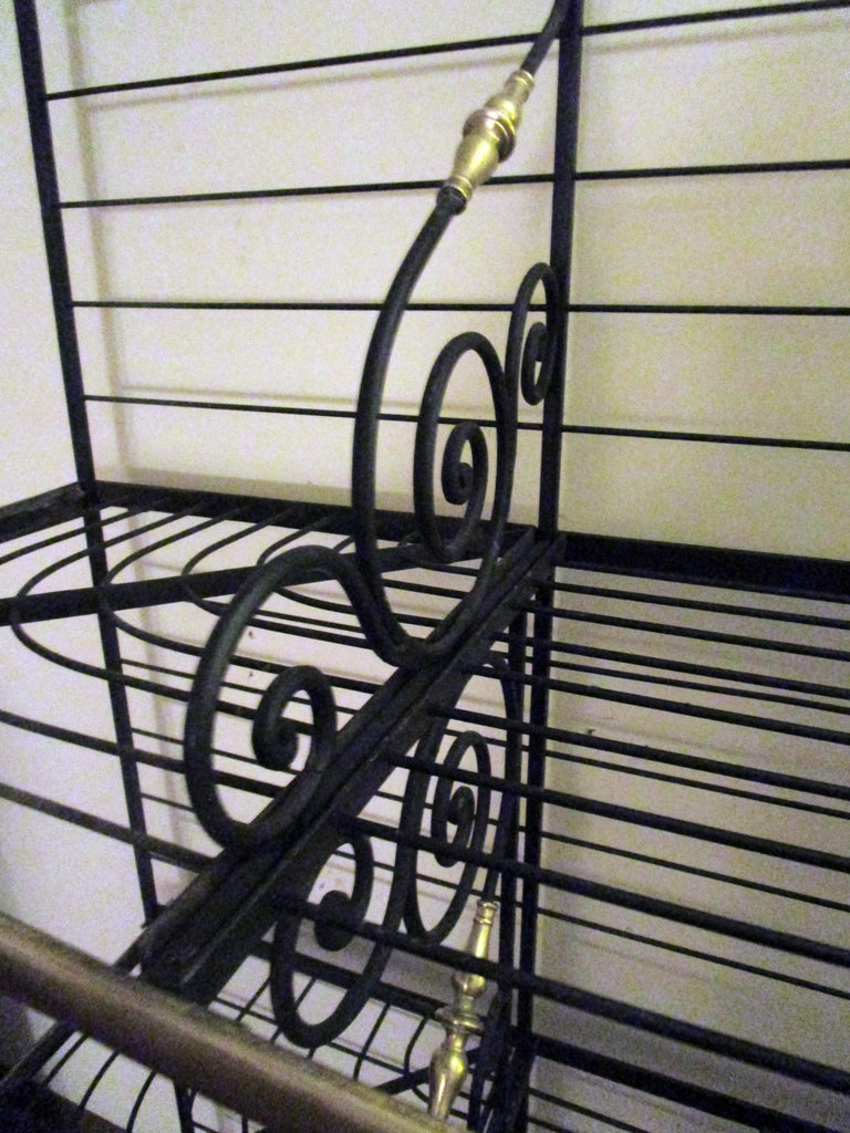 Art Nouveau 19th Century Large French Wrought Iron and Brass Bakers Rack For Sale