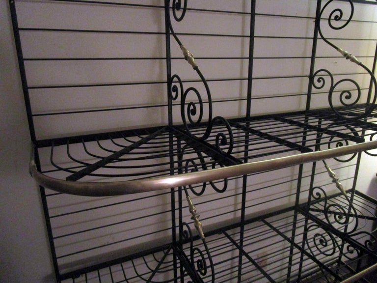 19th Century Large French Wrought Iron and Brass Bakers Rack In Good Condition For Sale In Savannah, GA
