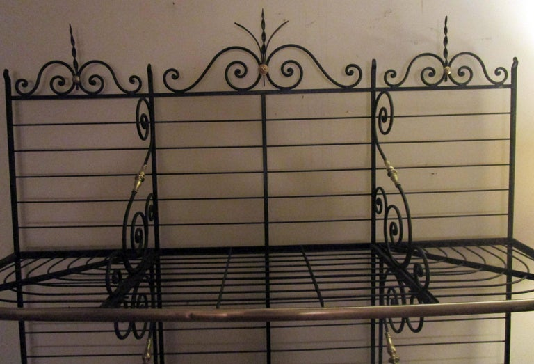 Late 19th Century 19th Century Large French Wrought Iron and Brass Bakers Rack For Sale