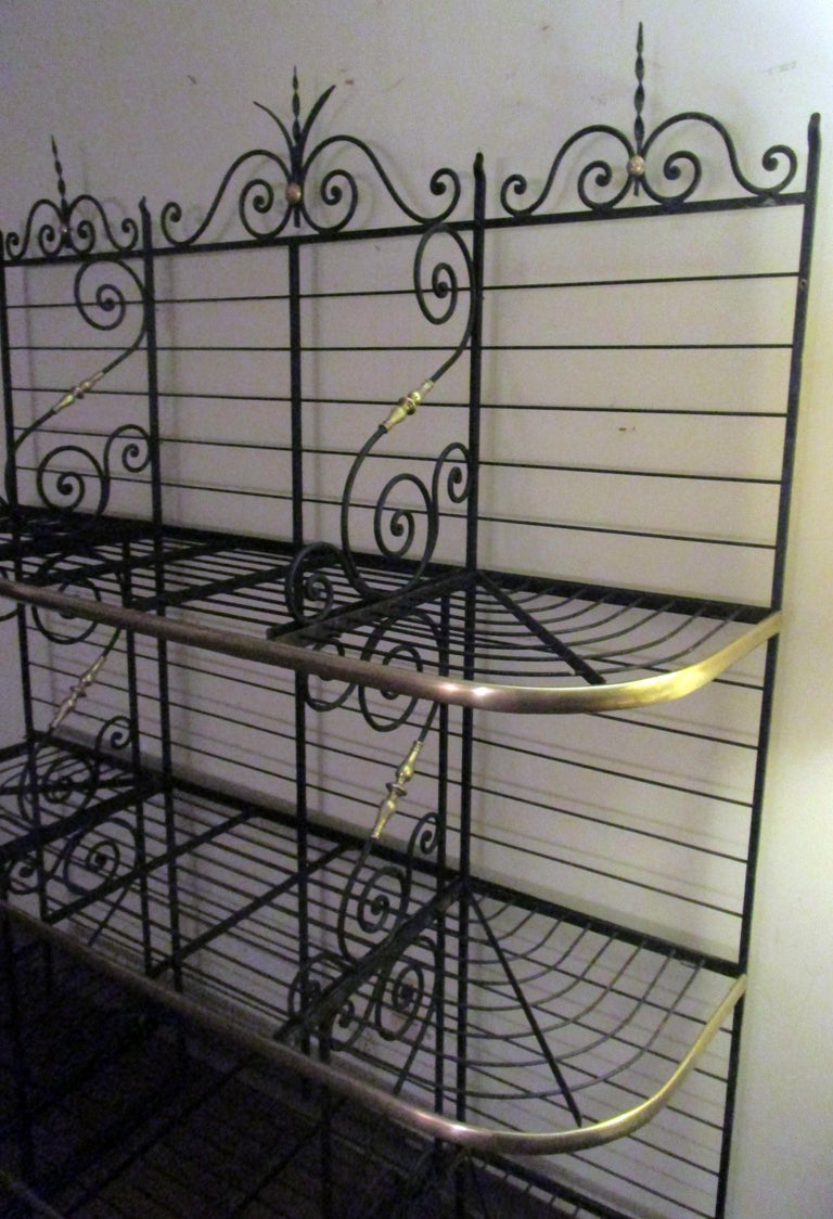 19th Century Large French Wrought Iron and Brass Bakers Rack For Sale 2