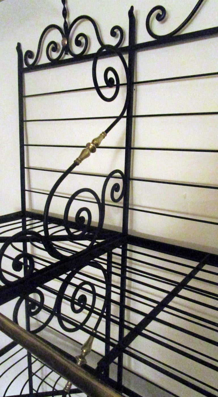 19th Century Large French Wrought Iron and Brass Bakers Rack For Sale 3