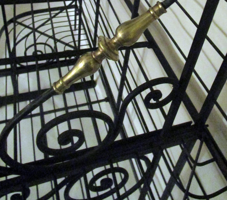 19th Century Large French Wrought Iron and Brass Bakers Rack For Sale 4