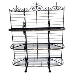 19th Century Large French Wrought Iron and Brass Bakers Rack