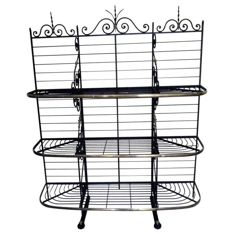 19th Century Large French Wrought Iron and Brass Bakers Rack For Sale